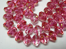 25 6x8mm Czech Glass Crystal Pink with Gold Luster - faceted Saucer Beads