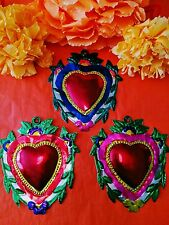 Authentic Mexican Tin Folk Art  Heart Milagro with Flowers & Vines Oaxaca