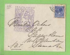 Netherlands 1937 Flight cover to Pagar Alam, Sumatra, netherland Indies