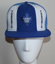 vtg TORONTO MAPLE LEAFS Hockey Snap Back Hat AJD Lucky Stripes 80s Trucker NHL