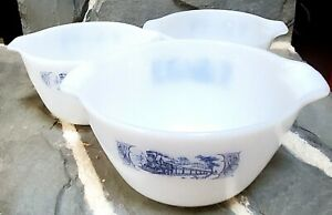 Currier and Ives Rare Blue/White Milk Glass Mixing Bowls Vintage Dishes