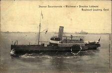 Schiffe Marine ~1910 Dampfer Steamer WALCHEREN Boulevard Lousberg Gand Belgien