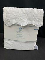 Simply Shabby Chic Twin Sheet Set White Woodrose Hem Embroider Rachel Ashwell B