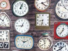 Canvas Baumwolle Stoff Vorhangstoff vintage Uhren Uhr Wanduhr retro braun 23060
