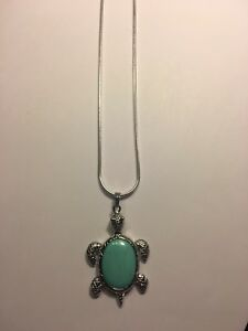 """Turquoise Tortoise/TURTLE 18K White Gold Filled Pendant 2 1/4"""" LONG W-CHAIN-N759"""