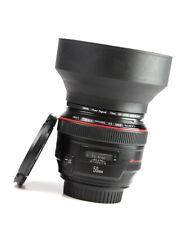 Canon EF 50mm F1.2 L USM Autofocus Prime Lens + F/R Lens Caps + Filter + Hood