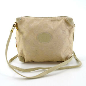 Gucci Vintage GG Supreme Guccissima Canvas Leather Messenger Bag in Beige Italy