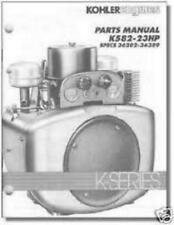 PARTS Manual K582 Specs #'s 36202 - 36389 KOHLER Engine TP-2420