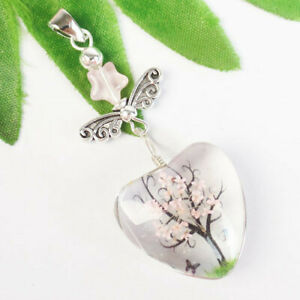 Delicate Crystal Glass Pink Dried Flower Tibetan Sliver Wing Pendant Bead H92339