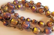 Superb vintage 1930s opalescent foil glass bead & gold-tone wire necklace