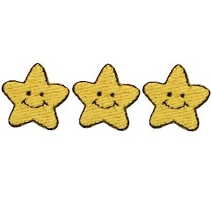 "Mini Smiling Star Applique Patch - Solar, Space Badge 3/4"" (3-Pack, Iron on)"