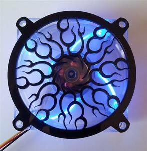 Custom 120mm FLAME SPIRAL Computer Fan Grill Gloss Black Acrylic Cooling Cover