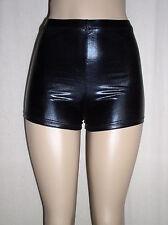 New Sexy SHINY BLACK Faux Leather METALLIC Spandex Derby BOOTY SHORTS - XL 12 14