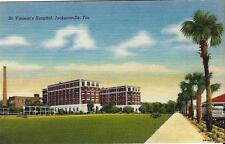 Postcard Florida Jacksonville St. Vincent's Hospital Nr Mint ca1930s-1940s Linen
