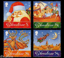 Christmas 1995 set of 4 mnh stamps Gibraltar Santa Reindeer Sleigh