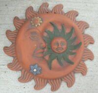 "Mexican Folk Art Clay Pottery Terracotta Hanging Wall Sun Moon 14"""