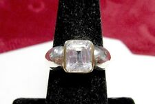 925 STERLING SILVER & GOLD PLATED CLEAR EMERALD CUT CENTER STONE RING SIZE 7