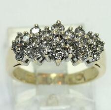 Diamond cluster wedding band ring yellow gold 23 round brilliants .80CT sz 5.75