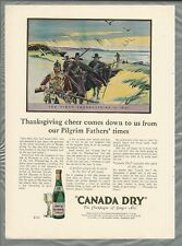 1928 CANADA DRY advertisement, Ginger Ale, color art Pilgrims First Thanksgiving