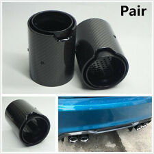 2x Black Glossy 70 In 150 Out Carbon Fiber Exhaut tip Fit For BWM M-Performance