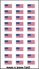 30 BOLEY VEHICLE MODEL DOOR DECALS 1/87 US FLAGS 6MM X 3MM