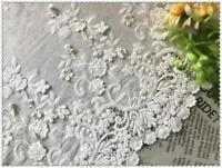 3D Floral Cotton Embroidery Lace Fabric Material By 1/2 yards DIY Wedding Dress