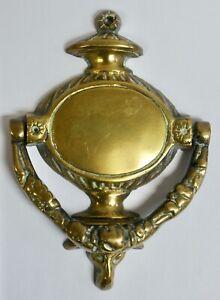 Vintage Brass Georgian Style Door Knocker, Urn Shape With Ram's Head