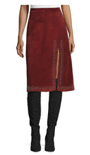 NWT $1595  A.L.C. Aimee Studded Suede Skirt, Bordeaux Size 6