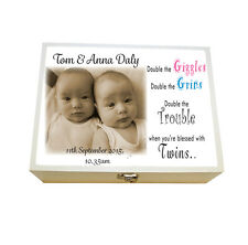 Large Personalised wooden Keepsake box, Twins, Baby Birthday,Christmas Gift