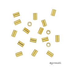 100 Gold Plated Sterling Silver Tube Crimp Spacer Beads 1.2x2mm #99346