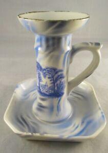 Vintage Czechoslovakian Ceramic Candle Holder/Stick & Base - Shabby Chic Rustic