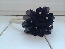 Ivory Satin Alice Hairband Headband  Navy Diamanté Flower Bridesmaid Flower Girl