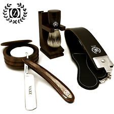 SHAVE READY WOODEN CUT THROAT 6 PC MEN'S STRAIGHT RAZOR SHAVING KIT GIFT SET