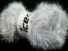 100 Gram EYELASH DAZZLE YARN - WHITE SILVER #42256-37128 Ice Metallic Fun Fur