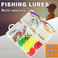 83Pcs Soft Hard Fishing Lures Small Minnow Lure Bass Crank Bait Tackle Hooks