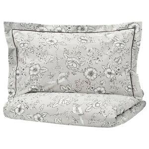 Ikea PRAKTBRACKA King size Duvet Cover & 2 Pillowcases - Grey & White Flower