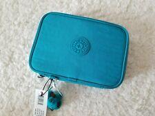Kipling 100 Pens Pencil Case Cosmetic Zip Closure Cool Blue Turquoise Monkey NWT