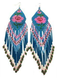 NATIVE STYLE BEADED HANDMADE BLUE EXTRA LONG ROSE FLOWER HOOK EARRINGS