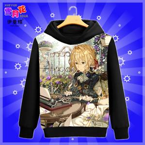 Violet Evergarden Anime Unisex Sweater Hoodies Casual Coat Sweatshirts #GX7