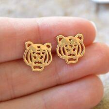 Champagne Gold Plated Tiger Head Stud Earrings / Clemson Auburn LSU Tigers!