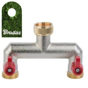 2-Wege Verteiler mit Absperrhähnen für Auslaufventile Messing 3/4' Bradas 4641