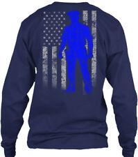 Police Officer Thin Blue Line Flag Amz Gildan Long Sleeve Tee T-Shirt