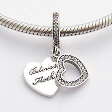 FOR MY LOVED MOTHER CHARM Bead Sterling Silver.925 For European Bracelet 607
