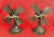 "(2) Antique Westinghouse Whirlwind Cast Iron Electric Desk Fans 8""  - 4 Restore!"