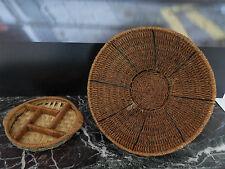 corbeille à fruits et plateau en bois tressé vintage XXème CURIOSITY by PN