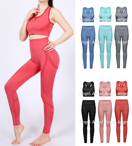 Womens Fitness Yoga Sets Crop Top Bra Leggings Set Gym Workout Sports Wear Suits