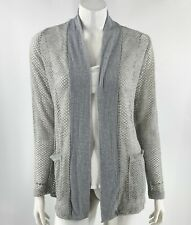 Daytrip Womens Cardigan Sweater Size Medium Gray Perforated Open Knit Top NEW