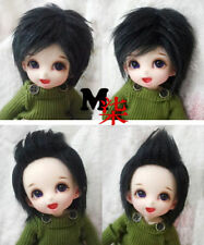 "5-6"" 14cm BJD fabric fur wig Black short hair for AE PukiFee lati 1/8 Doll"