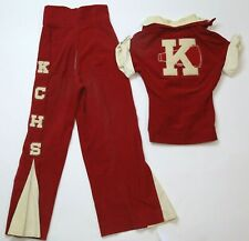 Vtg 1950s Kchs Cheerleader Uniform Red & White Corduroy Pants Jacket Rocket