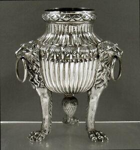 German Silver Lion Bowl         c1875 SIGNED